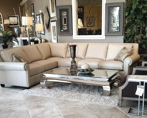 Right @ Home Fine Furniture Outlet Gorgeous quilted leather sectional by Century Furniture